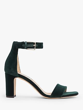 L.K.Bennett Nora Velvet Strappy Sandals, Forest Green