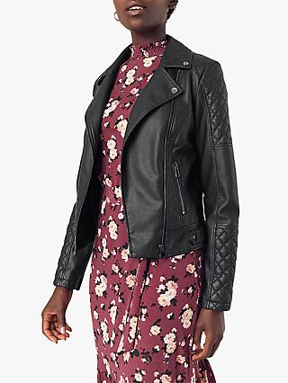 Oasis Faux Leather Biker Jacket, Black