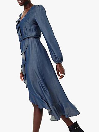 Oasis Frill Wrap Midi Dress, Dark Wash