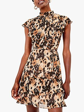 Oasis Smudge Chiffon Skater Dress, Brown