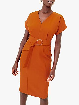 Oasis Belted V-Neck Utility Dress