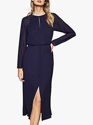 Reiss Mylee Keyhole Neck Front Slit Dress, Purple