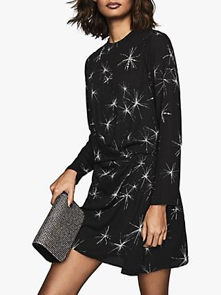 Reiss Gabby Star Embellished Mini Dress, Black
