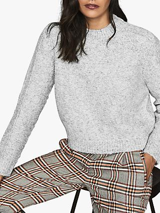 Reiss Lark Cropped Brushed Jumper, Grey
