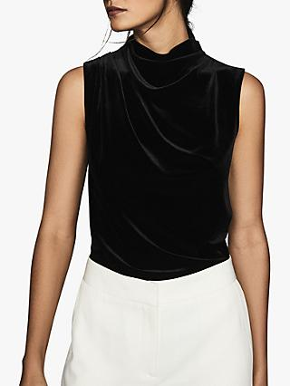 Reiss Lola High Neck Sleeveless Velvet Top