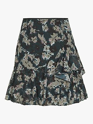 Reiss Lyon Ikat Print Ruffle Mini Skirt, Navy/Multi