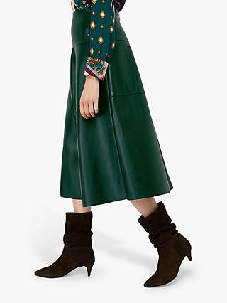 Monsoon Carly Faux Leather Circle Skirt, Dark Green