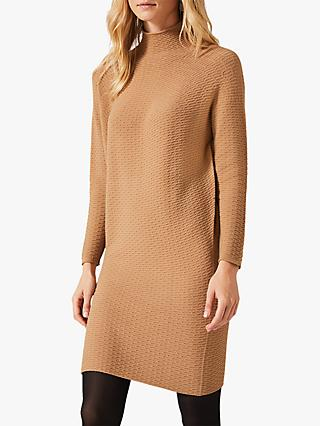Phase Eight Madie Waffle Knitted Dress, Camel