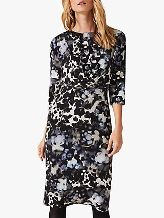Phase Eight Zina Smudge Dress, Navy