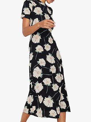 Warehouse Floral Midi Dress, Black Pattern