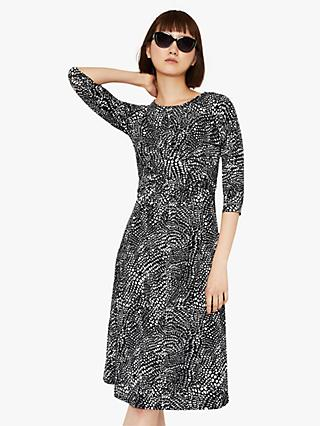Warehouse Abstract Twist Dress, Black