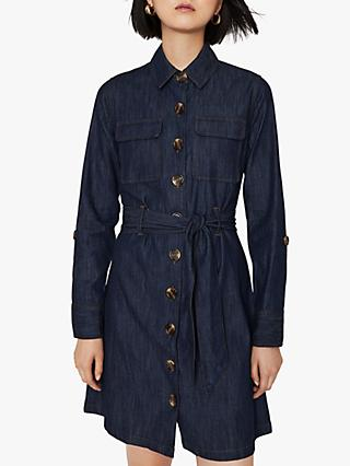 Warehouse Denim Shirt Dress, Dark Wash