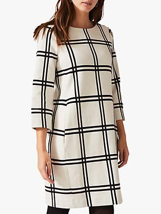 Phase Eight Mercia Large Check Tunic Dress, Ivory