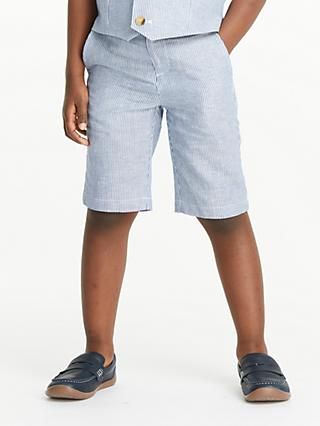 John Lewis & Partners Heirloom Collection Boys' Ticking Stripe Shorts, Blue