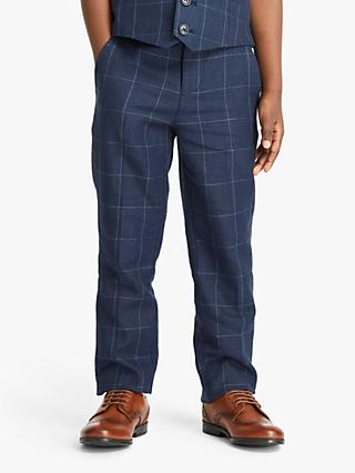 John Lewis & Partners Heirloom Collection Boys' Check Trousers, Blue