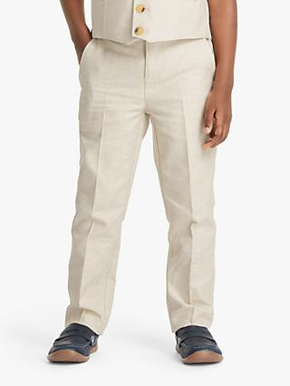 John Lewis & Partners Heirloom Collection Boys' Cotton Linen Trousers, Beige