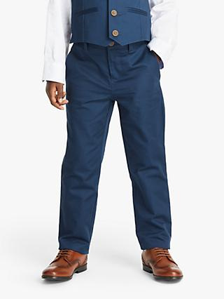 John Lewis & Partners Heirloom Collection Boys' Satin Suit Trousers, Blue