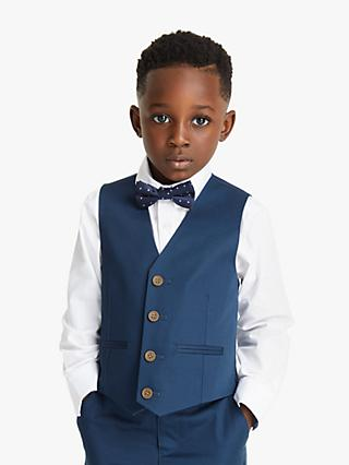 John Lewis & Partners Heirloom Collection Boys' Cotton Sateen Waistcoat, Blue