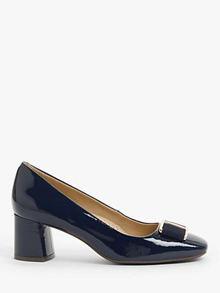 John Lewis & Partners Aisling Patent Leather Block Heel Court Shoes, Navy