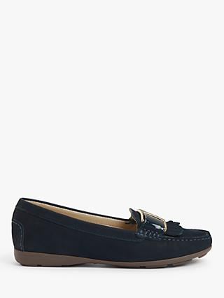 John Lewis & Partners Gina Suede Contrast Trim Moccasins, Navy