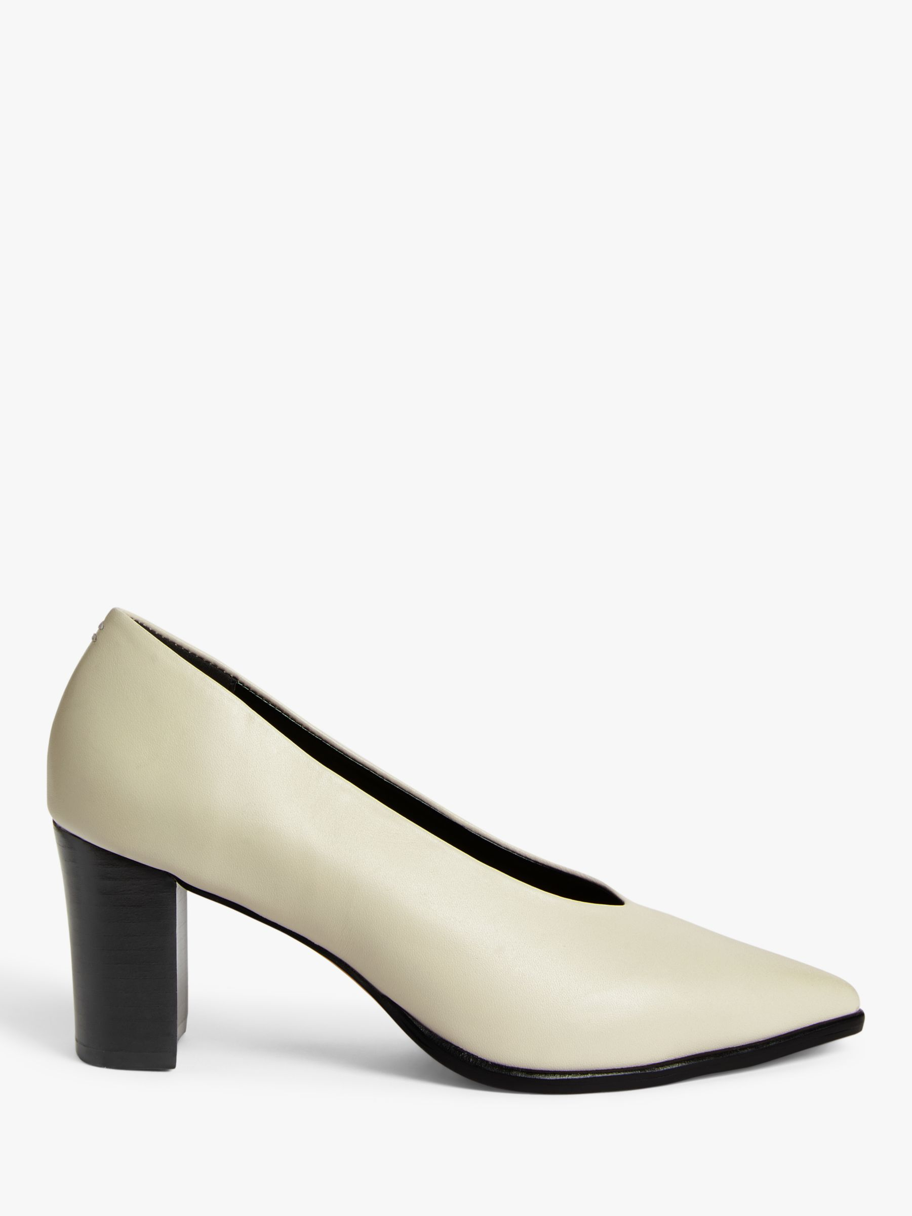 Buy Kin Arali Leather High Vamp Block Heel Court Shoes, White, 4 Online at johnlewis.com