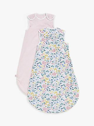 John Lewis & Partners Leckford Bunny Baby Sleep Bag, Pack of 2, 1 Tog, Pink