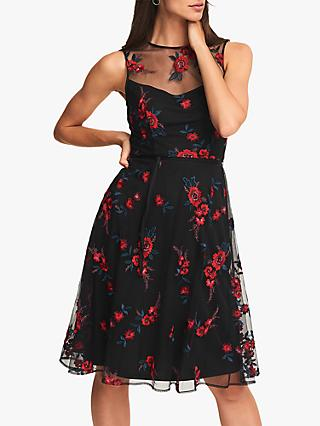 Phase Eight Maylin Fit and Flare Dress, Black/Scarlet