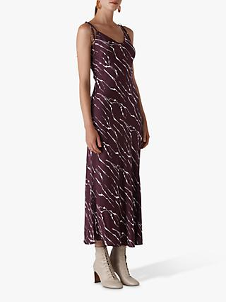 Whistles Dagma Twig Print Slip Dress, Burgundy