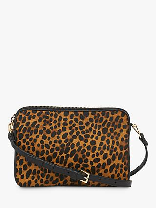 Whistles Cami Leather Leopard Print Cross Body Bag, Black