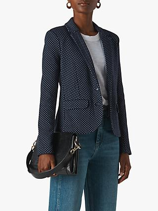 Whistles Spot Slim Jersey Jacket, Navy/Multi