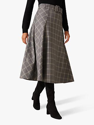Phase Eight Check A-Line Skirt, Grey