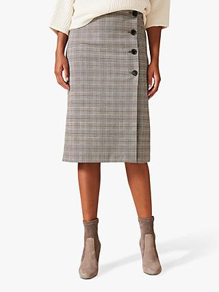 Phase Eight Caleb Check Pencil Skirt, Grey Multi