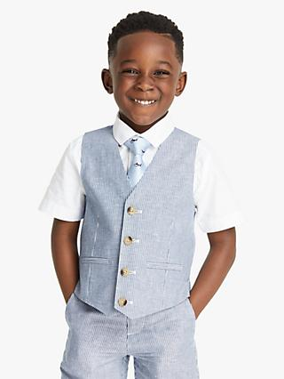 John Lewis & Partners Heirloom Collection Ticking Stripe Boys' Suit Waistcoat, Blue