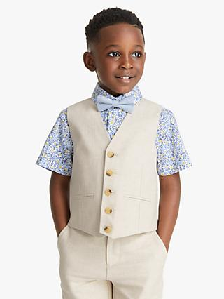 John Lewis & Partners Heirloom Collection Boys' Cotton Linen Waistcoat, Beige