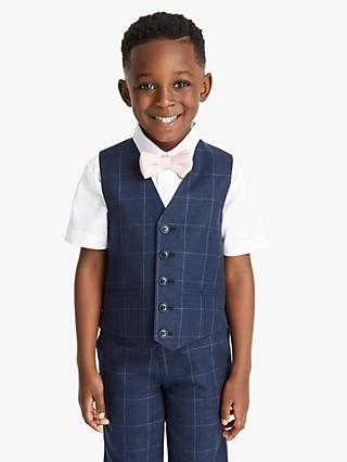 John Lewis & Partners Heirloom Collection Boys' Check Waistcoat, Navy