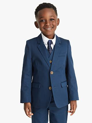 John Lewis & Partners Heirloom Collection Boys' Satin Suit Jacket, Blue