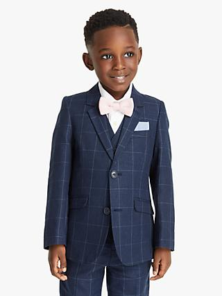 John Lewis & Partners Heirloom Collection Boys' Check Linen Suit Jacket, Blue