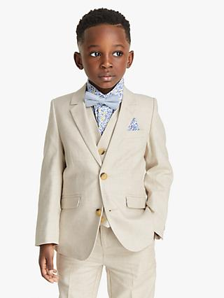 John Lewis & Partners Heirloom Collection Boys' Cotton Linen Suit Jacket, Beige