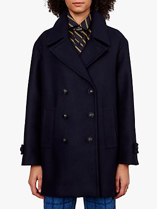 Gerard Darel Pola Virgin Wool Pea Coat, Navy