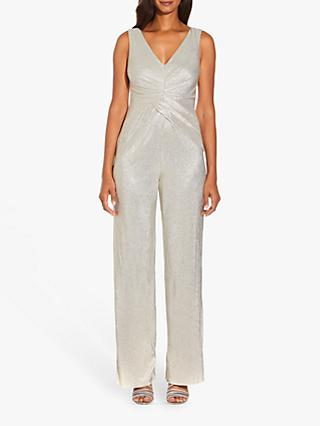 Adrianna Papell Wrap Waist Jumpsuit, White Gold