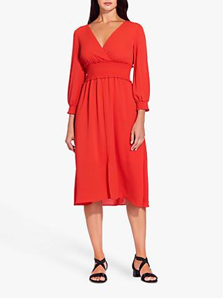 Adrianna Papell Smocked Midi Dress, Burnt Orange