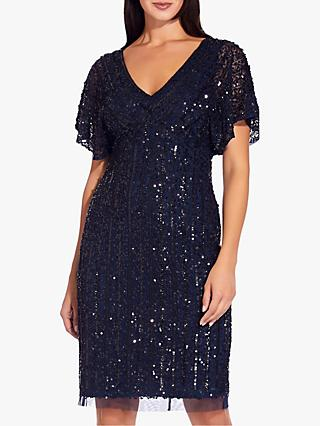 Adrianna Papell Flutter Sleeve Beaded Cocktail Dress, Navy