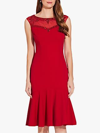 Adrianna Papell Crepe Beaded Dress, Cardinal