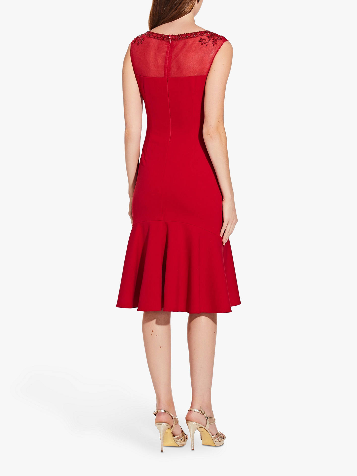 Buy Adrianna Papell Crepe Beaded Dress, Cardinal, 12 Online at johnlewis.com
