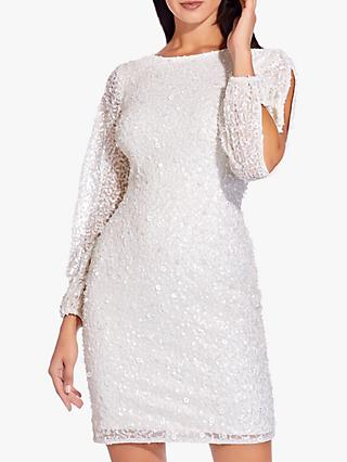 Adrianna Papell Beaded Short Dress, Ivory