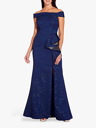 Adrianna Papell Petite Off Shoulder Metallic Gown, Light Navy