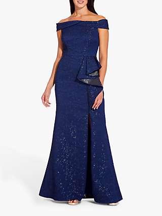 Adrianna Papell Metallic Bandeau Ruffle Dress, Navy