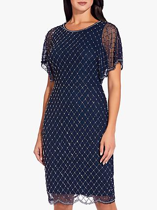 Adrianna Papell Beaded Short Dress, Navy