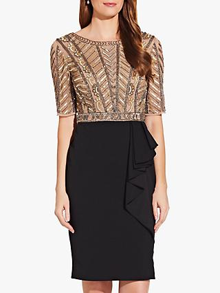 Adrianna Papell Beaded Ruffle Dress, Gold/Black