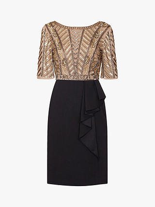 Buy Adrianna Papell Beaded Ruffle Dress, Gold/Black, 6 Online at johnlewis.com